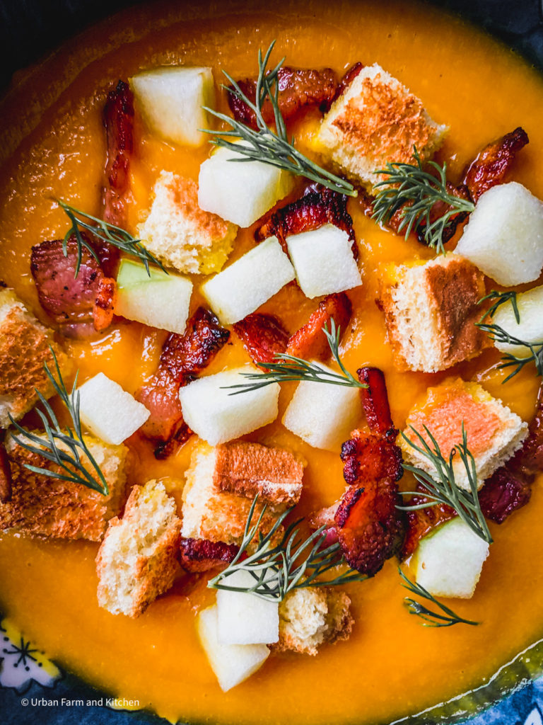 squash soup with bacon