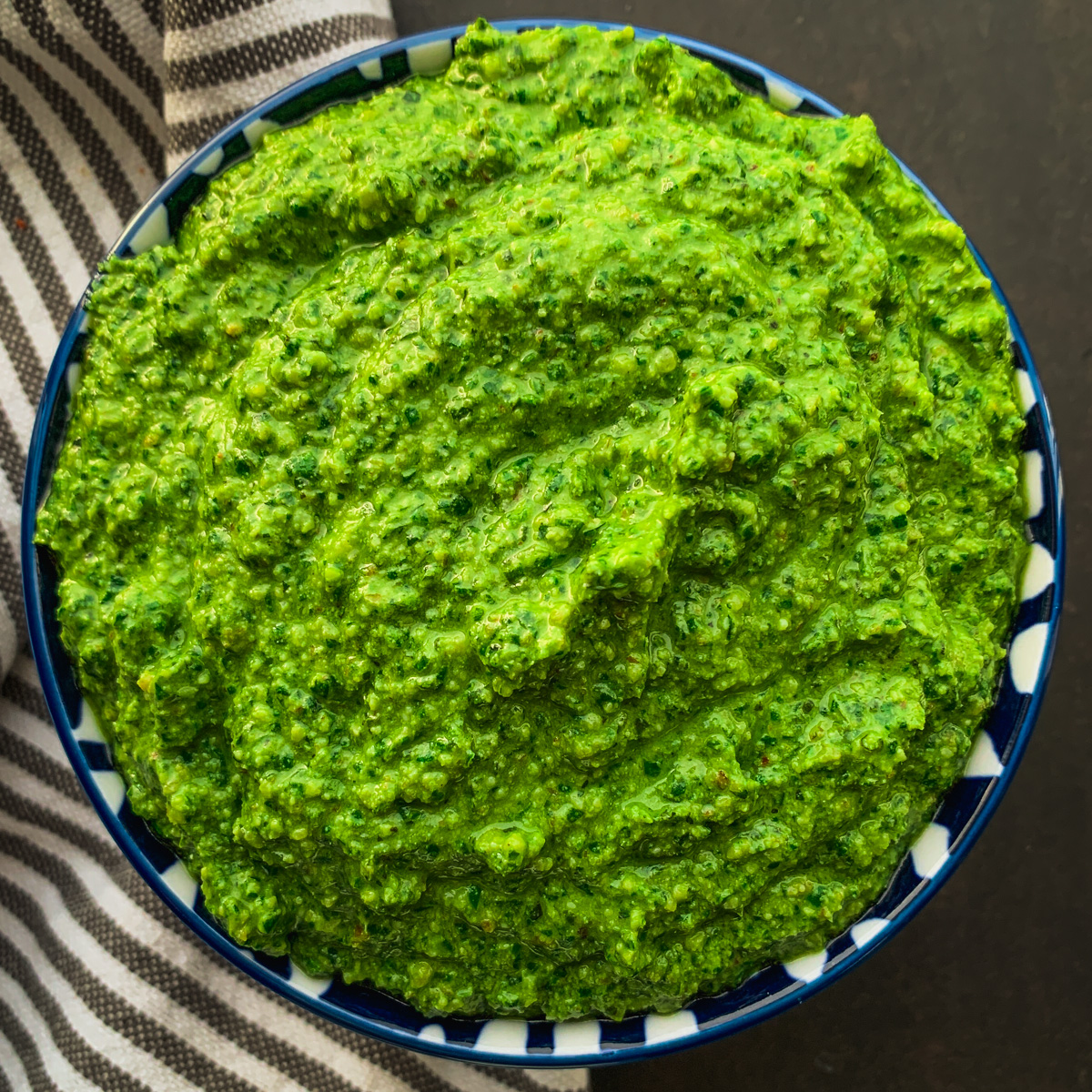 Finished pesto in bowl.