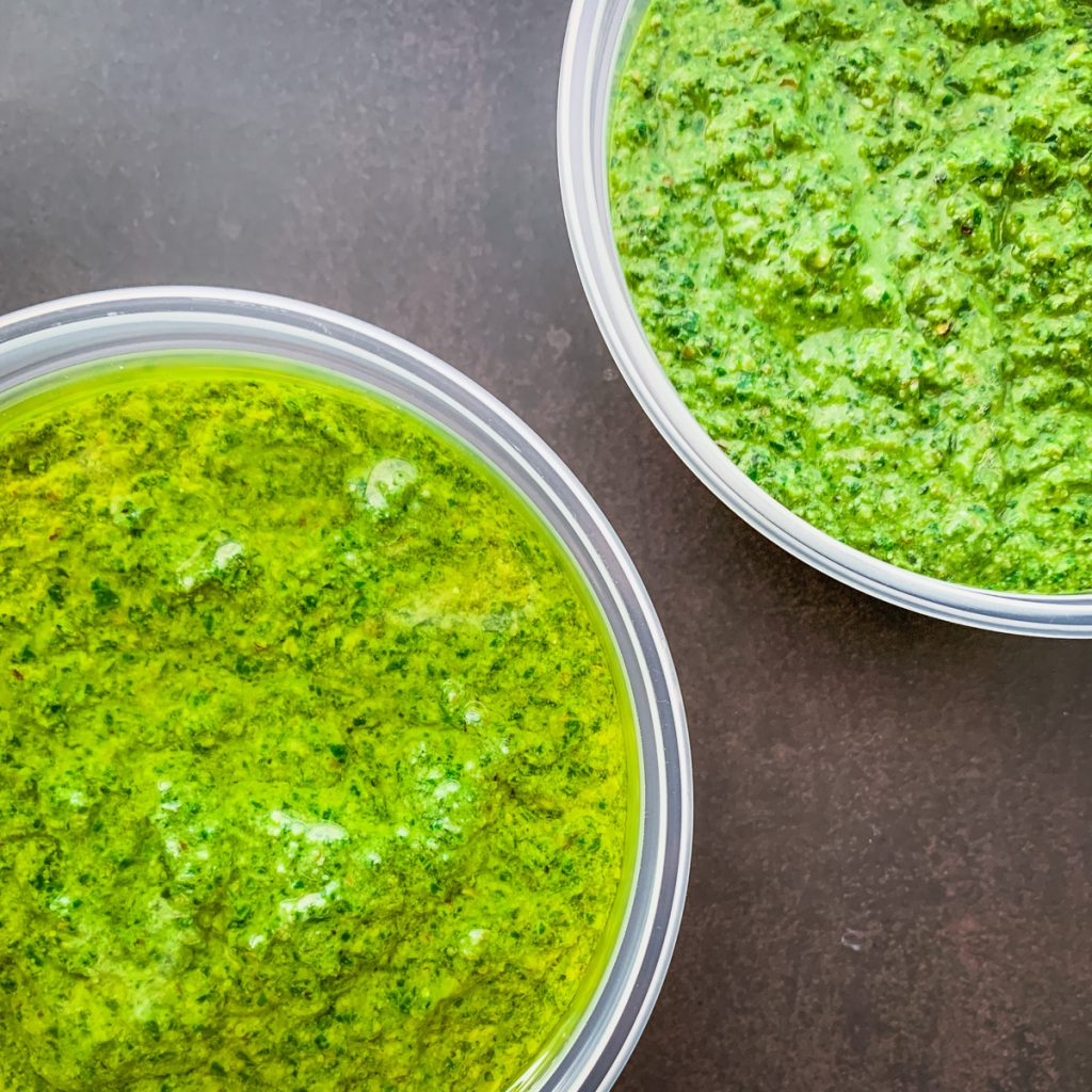 pesto with thin layer of oil on top.