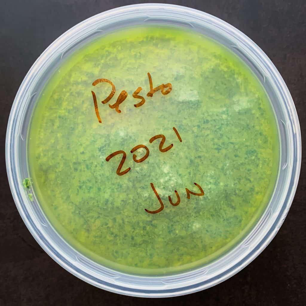 Pesto stored in plastic deli container for the freezer.